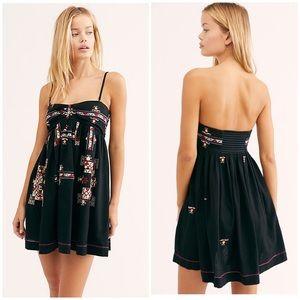 Free People XL Kaleidoscope Cool Mini Dress Black